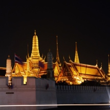 Grand palace light goldly at night
