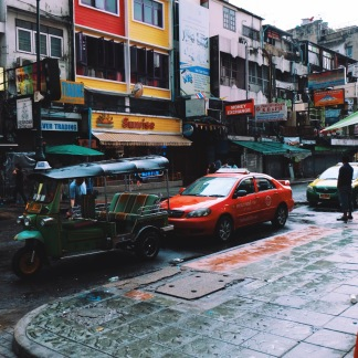 Line of Taxi and Tuk-tuk in the morning, seemed completely contrast as compare to night time